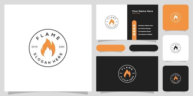 炎のロゴのベクトルのアイコンのデザインと名刺
