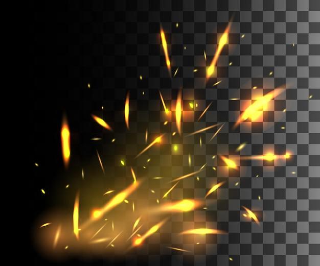 暗い透明な背景に輝く粒子を飛ぶ火花と火の炎