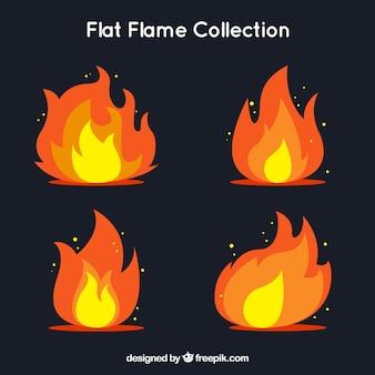 평면 디자인의 불꽃 팩