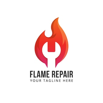 Flame repair fire abstract shape hot fast quick illustration logo