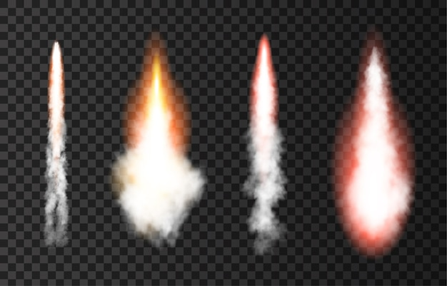 Flame and smoke from space rocket launch.