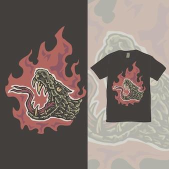 The flame snake head vintage illustration