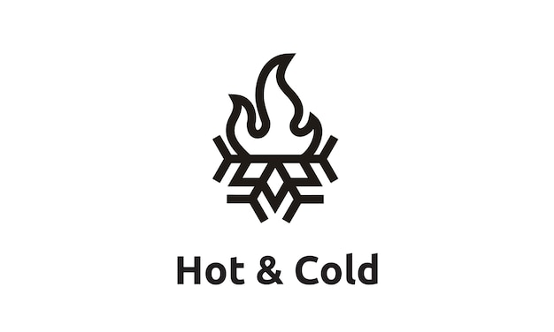 Flame and snowflake with simple line art style logo design