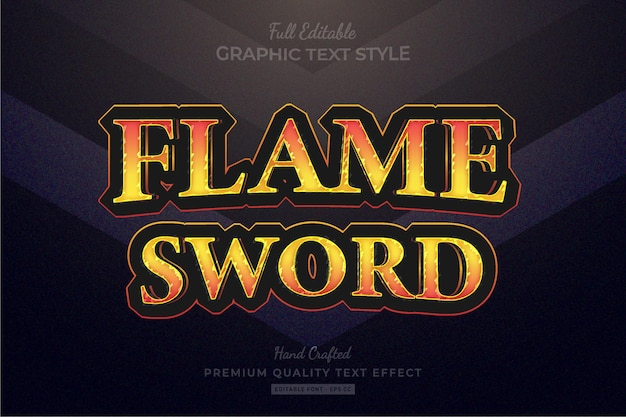 Flame sword rpg game title editable premium text effect font style