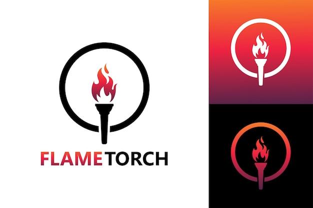 Flame torch logo template premium vector