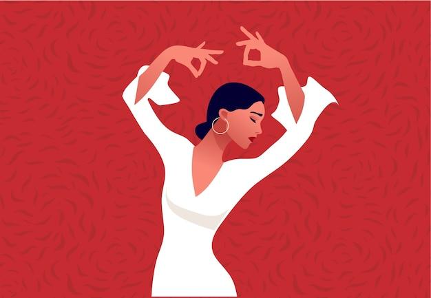 플라멩코 댄서. 아름 다운 우아한 여자 춤입니다. 스페인 문화.