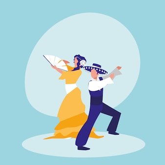 Flamenco dancers couple isolated icon