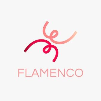 Modello di logo di ballo flamenco, grafica del club sportivo in un vettore di design sfumato