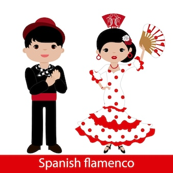 Flamenco woman with white dress and flamenco man