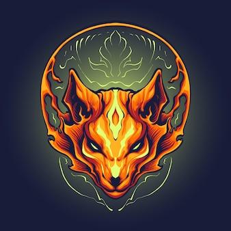 The flames fox head illustration