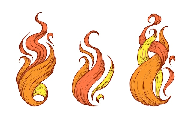 Flames handmade vector art illustration made with pen and ink