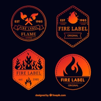 Flames label/badge sale collection