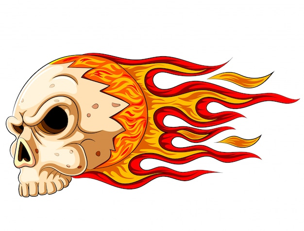 Flames skull horror evil burn hot