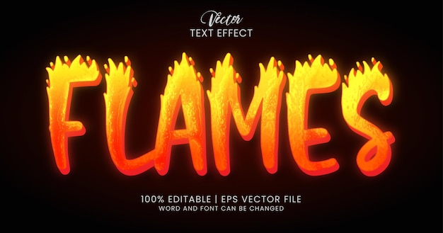 Текст пламени, редактируемый стиль текстового эффекта