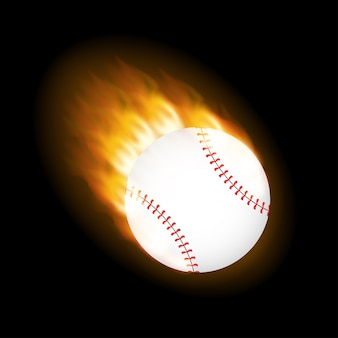 A flaming baseball ball on fire flying through the air.