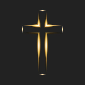 Flaming cross on black background. christian symbol. glowing logo of church, christian organizations. vector illustration. eps10.