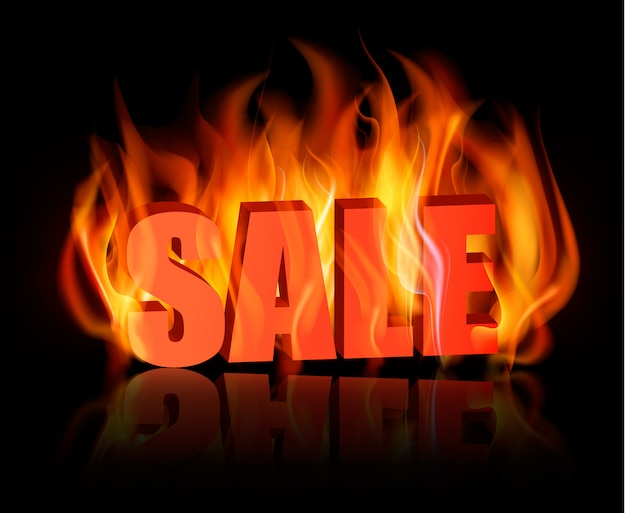 Flaming letters spelling sale.