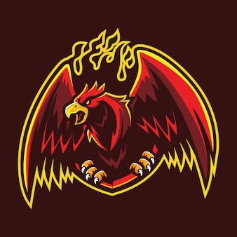 Flaming phoenix esport logo illustration