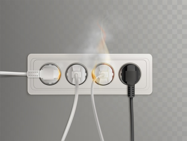 Flaming power plugs in horizontal electrical socket
