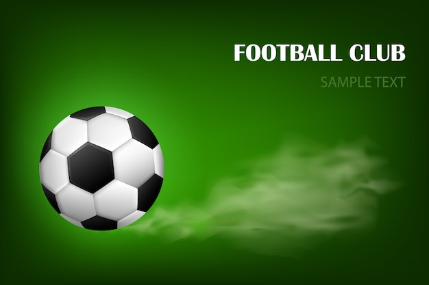 Flaming soccer ball vector poster for football sport game. flying soccer ball with shine motion blur