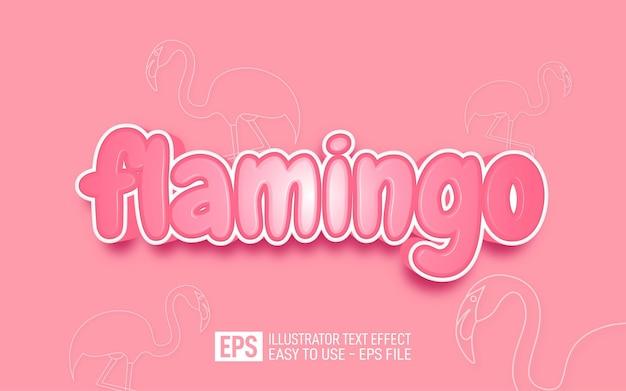 フラミンゴ3dテキスト編集可能なスタイル効果テンプレート