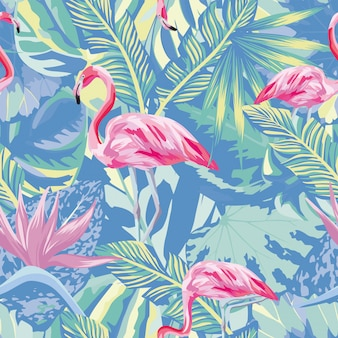 Flamingo in abstract blue foliage leaves seamless pattern wallpaper
