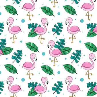 플라밍고와 나뭇잎 패턴
