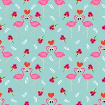 플라밍고와 장미 원활한 패턴입니다.