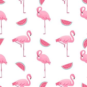 플라밍고와 수박. 여름 열 대 완벽 한 패턴입니다. 디자인 표면, 직물, 직물, 포장지, 벽지에 사용됩니다.