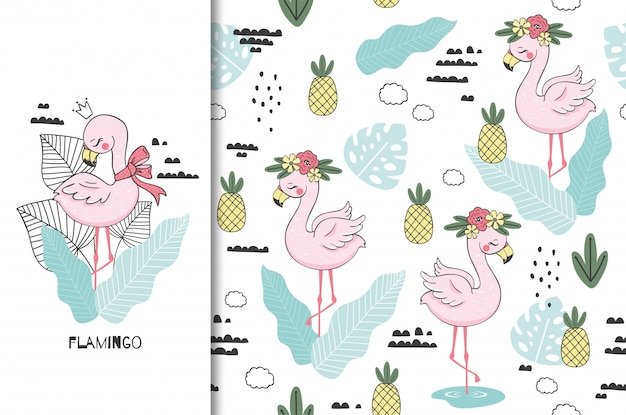 플라밍고 아기 공주, 귀여운 정글 동물 캐릭터. 키즈 버드 카드와 원활한 배경입니다. 손으로 그린 그림입니다.