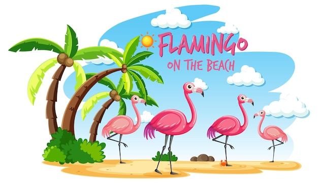 Flamingo on the beach banner with many kids at the beach