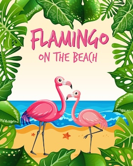Flamingo on the beach banner with many tropical leaves