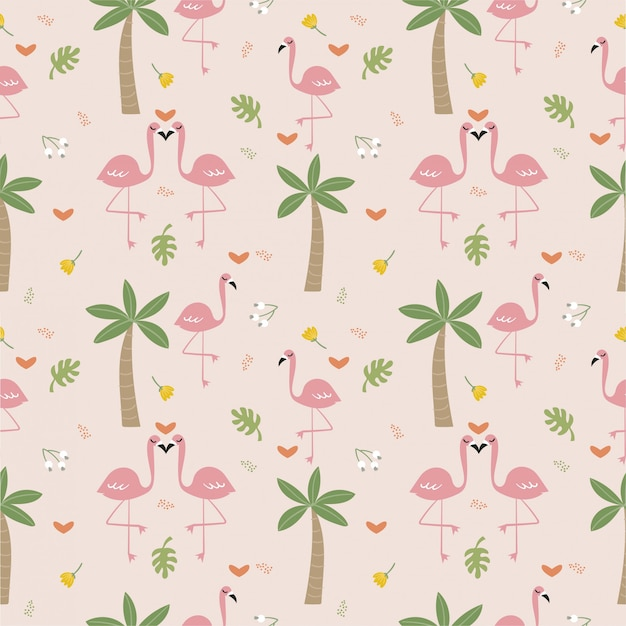 フラミンゴの鳥と植物のシームレスパターン