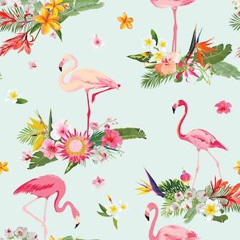 Фламинго птица и тропические цветы фон. ретро бесшовный образец