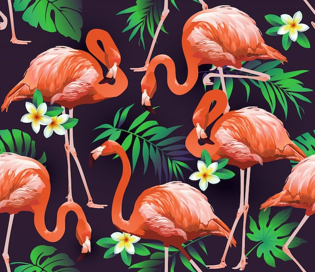 플라밍고 새와 열 대 꽃 원활한 패턴