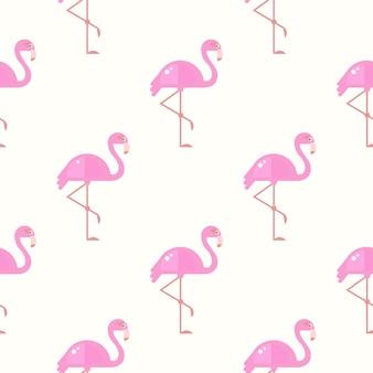 フラミンゴ鳥の背景。ベクトルのレトロなシームレスパターン