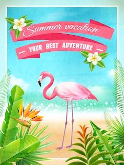 Плакат с летними каникулами экзотическая птица фламинго