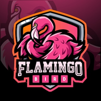 Flamingo bird mascot esport logo design