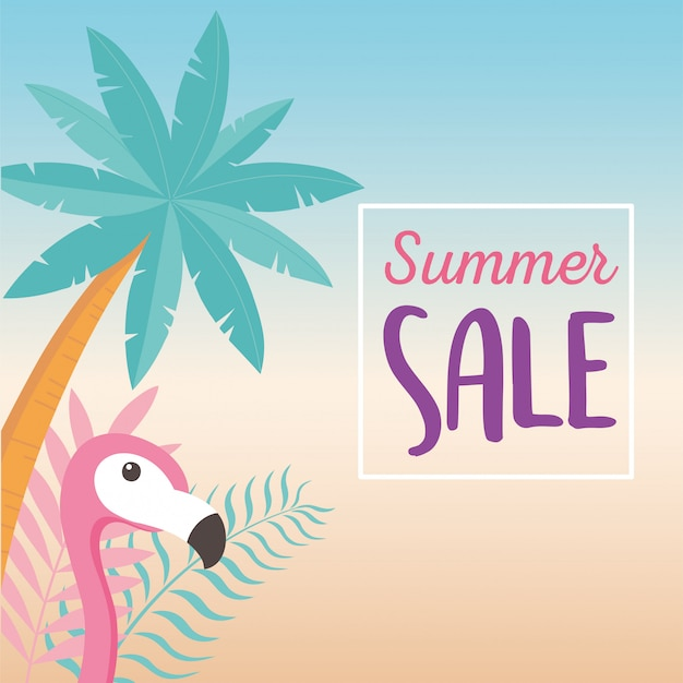 Flamingo bird palm tree with exotic tropical leaves, hello summer sale  illustration