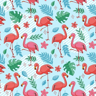 Flamingo bird pattern with tropical leaves