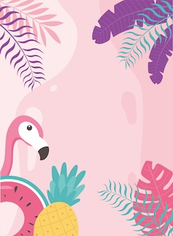 Flamingo bird pineapple and float exotic tropical leaves, hello summer  illustration
