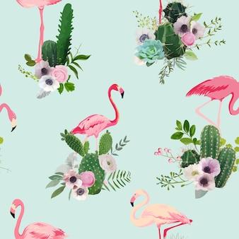 Flamingo bird and tropical cactus flowers background