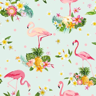 Flamingo bird and tropical flowers background - retro seamless pattern - in