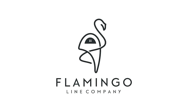 플라밍고 새 독특한 라인 디자인