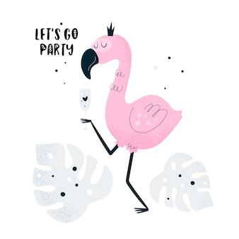 Фламинго птица с коктейлем в летней вечеринке