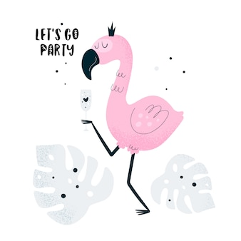 Flamingo bird with cocktail in summer party