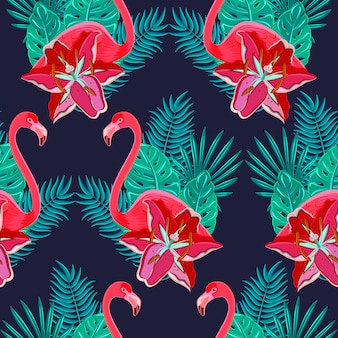 Flamingo birds and tropical hibiscus bright flowers tropical foliage