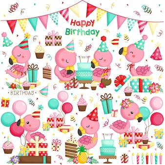 フラミンゴの誕生日のお祝いのベクトルセット