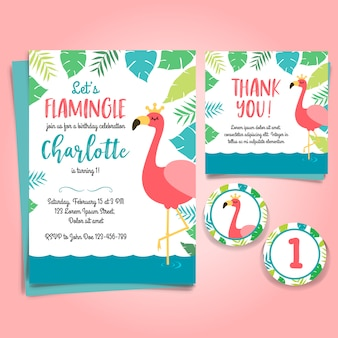 Flamingo Birthday Invitation, pool party