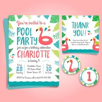 Приглашение на участие в фламинго, вечеринка в бассейне